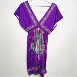 Flying Tomato Purple Boho Tunic/dress/coverup M